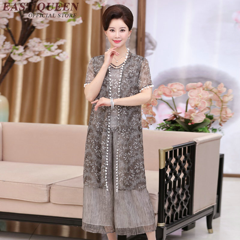 3a0bb6bab96e1 2018 fashion older women clothing middle aged women suit summer dresses for older  womens 3 piece pant suit XL 4XL AA2454 YQ-in Women's Sets from Women's ...