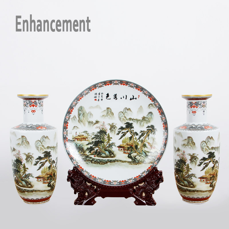 Neue Ankunft Antike Jingdezhen Keramik Vase Platet Set Klassische - Wohnkultur - Foto 2