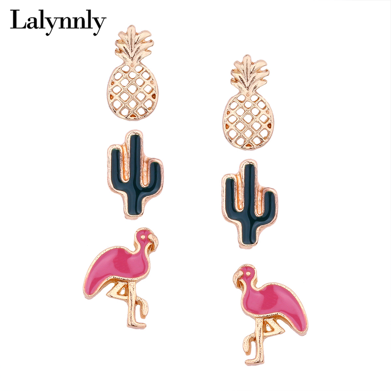 Lalynnly 3 Pairs/Set Gold Pineapple Crane Animal Stud Earrings Set Cute Small Stud Earrings Set Women Jewelry Accessories E19401