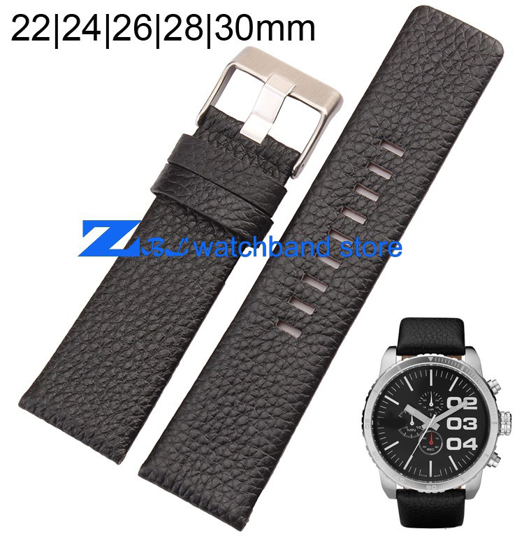Genuine Leather Bracelet  strap Black watchband 22mm 24mm 26mm 28mm 30mm accessories Wrist watch band Soft and comfortable