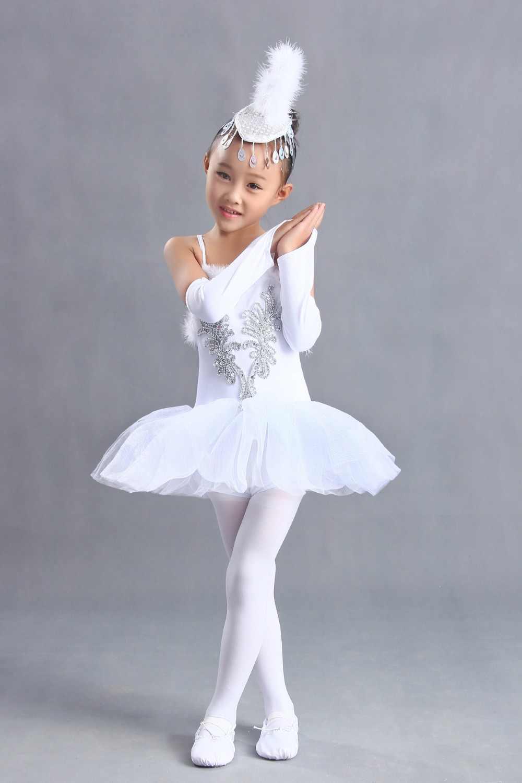 Kostümleri Bale giysileri Kız Jartiyer tutu Beyaz peçe prenses Noel Çocuk dans kostümü Küçük kuğu kız giysileri