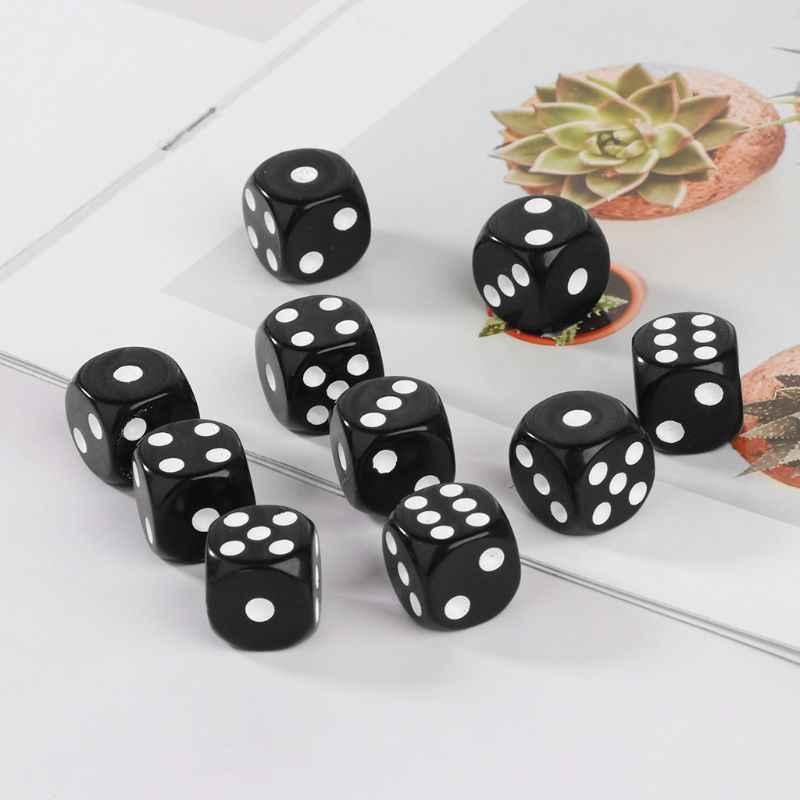10 piezas 16mm acrílico dados negro/blanco 6 de Casino juego de póquer de la barra del Partido de la dados D5BA