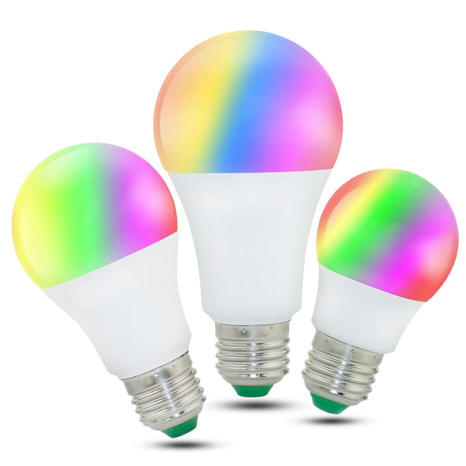 LED מנורת E27 RGB LED הנורה E27 15 w 10 w 5 w RGBW Dimmable אמפולה LED חכם אורות עבור בית חג קישוט עם שלט רחוק
