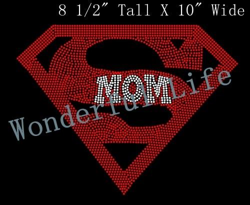 Free shipping Super Mom Crystal Clear Iron On Hotfix Rhinestones Patches Transfer  Designs Motif 2391b38fb3c3