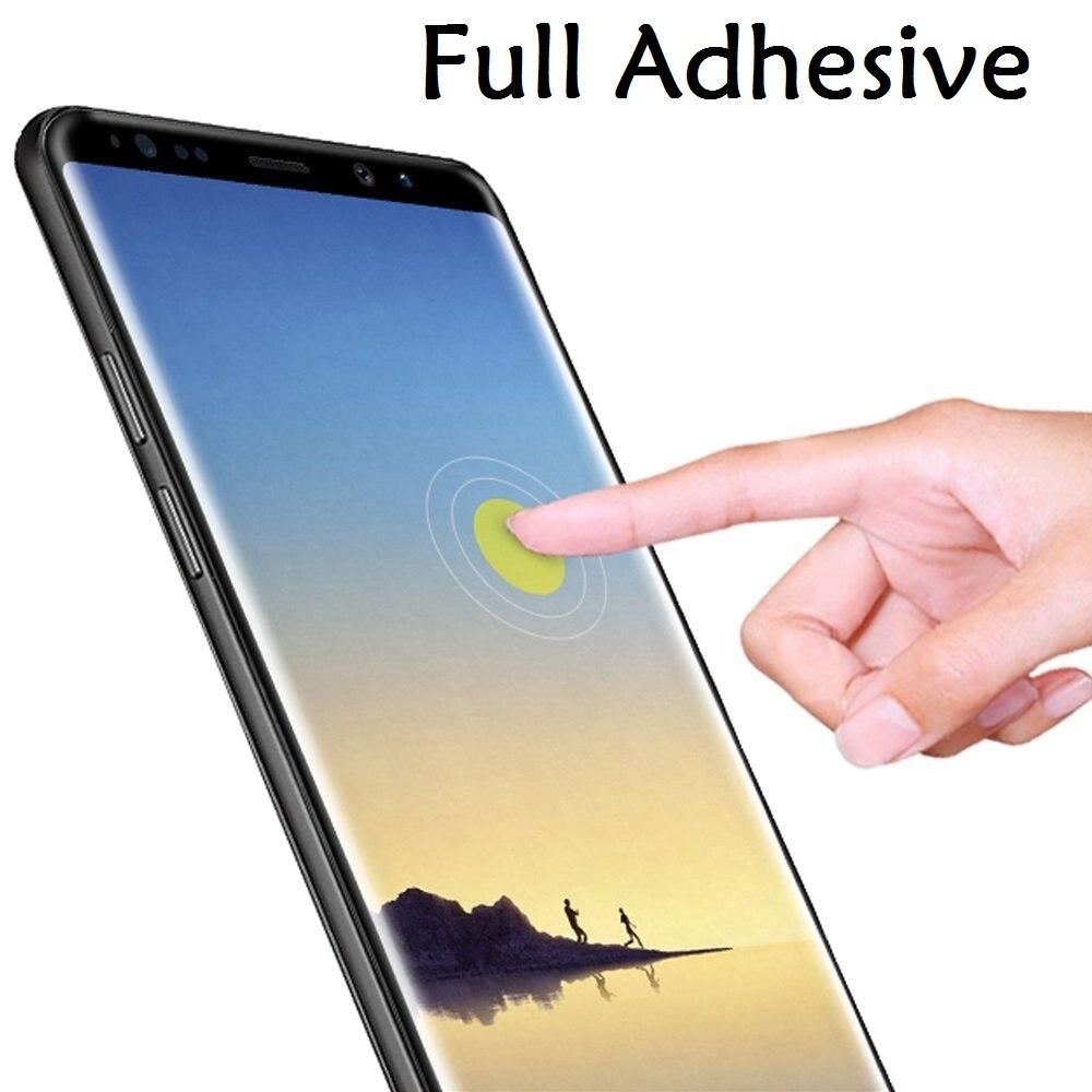 d735d6eb0d3 3D La pegamento de templado de vidrio de película para Samsung Galaxy S9  Plus completa de adhesivo Protector de pantalla para Galaxy Note9 Note8 S8  más S7 ...