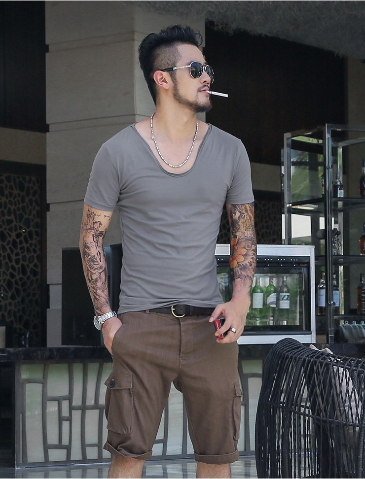 01c67bd74e5a T shirt Men Fashion Solid Color Slim Fit Cool Short Sleeve v neck T ...