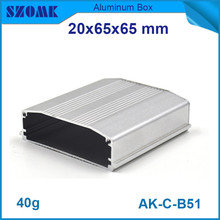 4pcs/lot silver aluminium box for electronics powder coating junction housing case 20x65x65mm