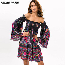 Off Shouder Vintage Dresses Women's Clothes 2017 Summer Ladies Print Strapless Flare Sleeve Casual Sexy Dress