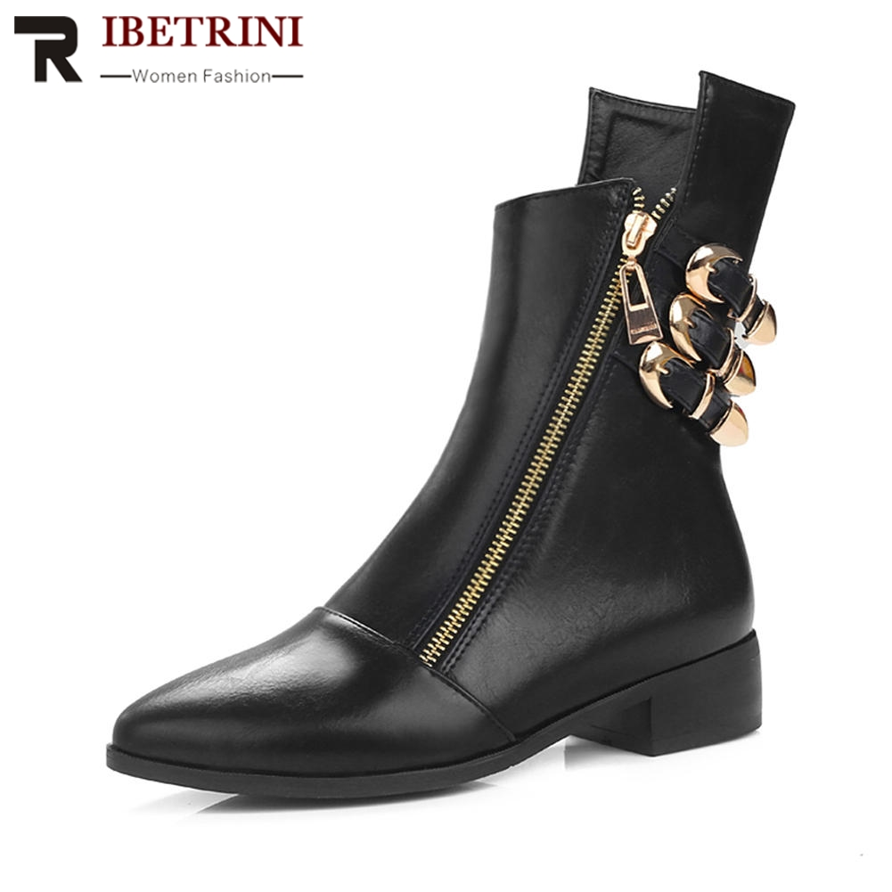 RIBETRINI Women Martin Motorcycle Boots Cool Buckle Zipper Pointed Toe Shoes Woman Chunky Heel Short Ankle Boots Big Size 34-44 все цены