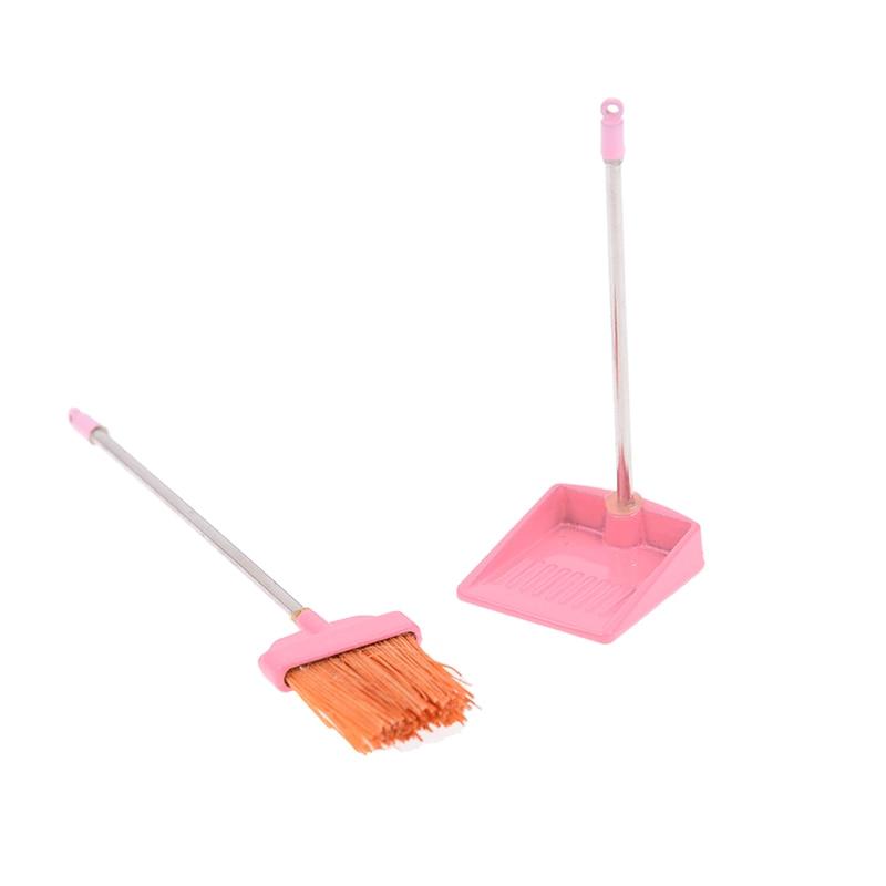 1:12 dollhouse miniature red metal long handles broom and dust pan set WF