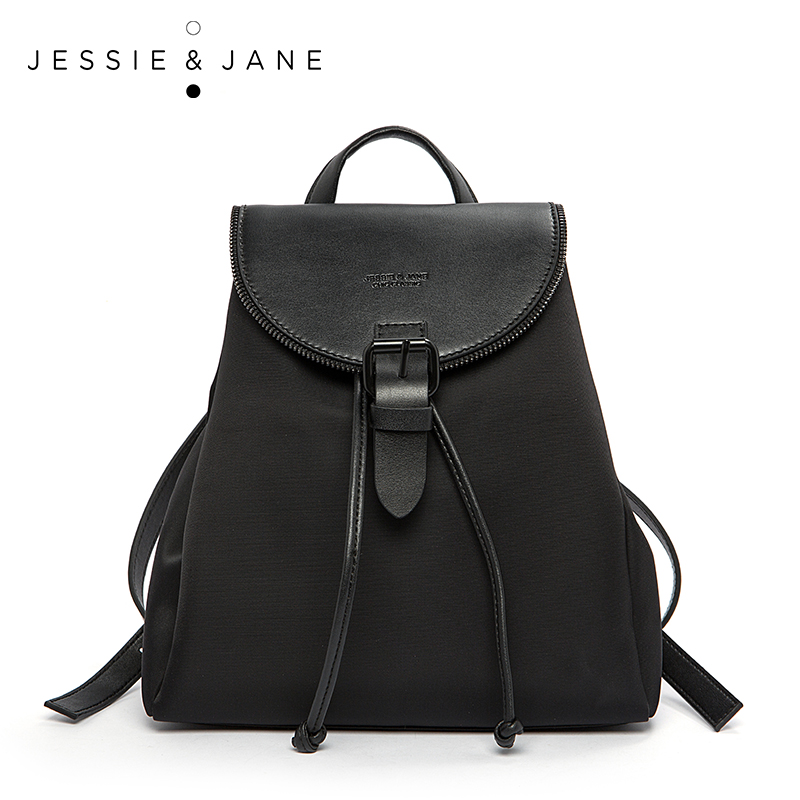 JESSIE&JANE Girl Backpack Student Bag Waterproof Backpack Vintage Split Leather with Nylon Cheap Backpacks Small Daypacks 1741 classic designer style women small backpack cattle split leather backpack with nylon inside