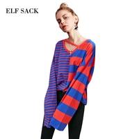 ELF SACK 2018 Spring Women Casual Loose Full Striped T shirt Female Sweet V Neck Unsymmetrical Stripes Splicing Shirt Tops