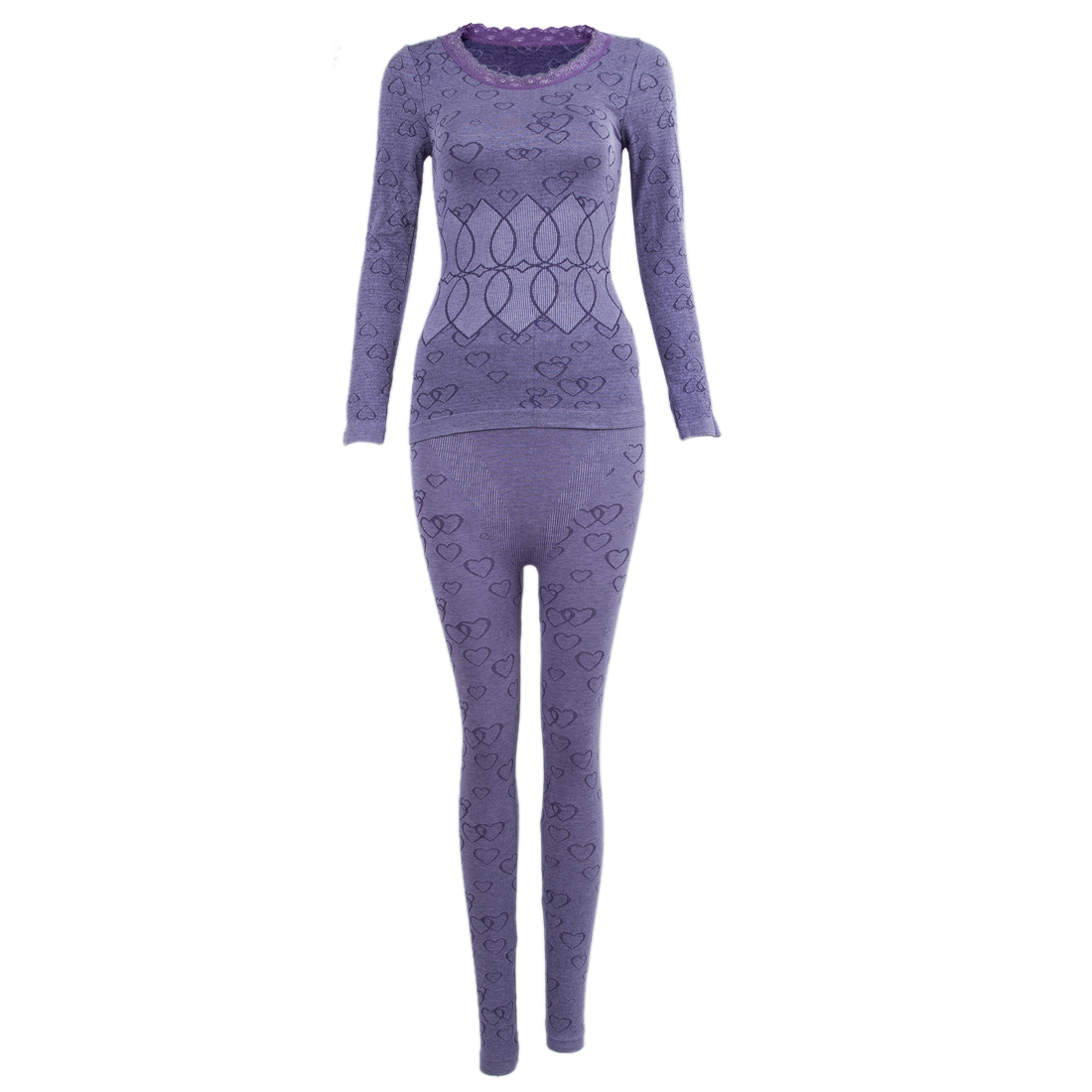 Women Round Neck Thermal Set Winter Tops&Pants Long Johns Pajama Sets Purple