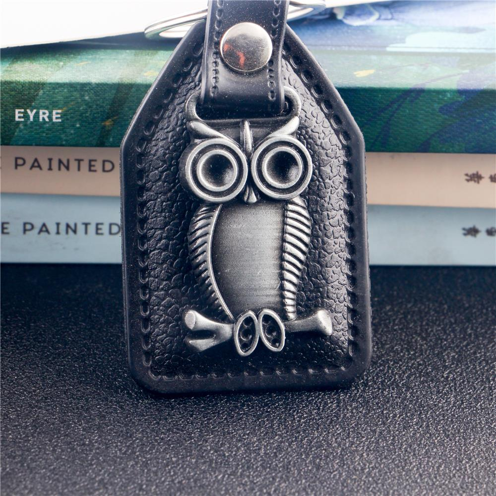 Trendy Leather Silver-Color Owl Pendant Key Chains For Women Men Trendy Trinket Charms Keyrings Key Chain