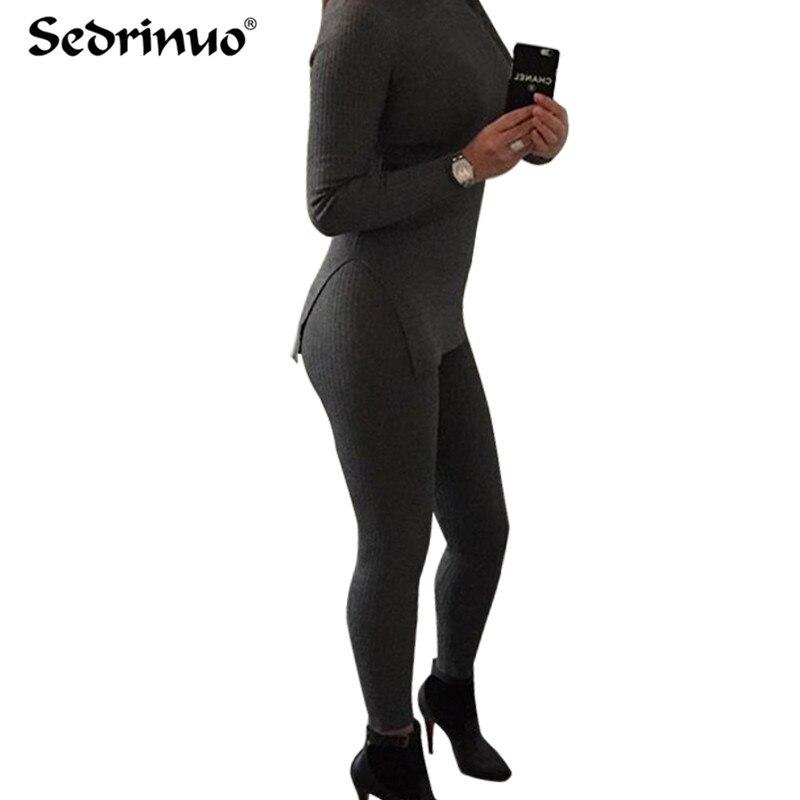 2 pieces Bodycon Jumpsuit 2016 Autumn Winter Rompers Jumpsuit Knitting black gray Bodysuits Long bandage Jumpsuits