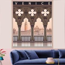купить Vintage VENICE building Tapestry Nostalgic Pattern Retro landscape poster Wall Hanging persoanlity Home Decor Art   Wall Carpets по цене 729.47 рублей