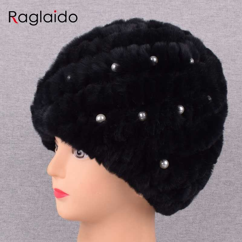 521a5ce5b615a New Pearl Rabbit fur hat for Women Russian Real Fur Knitted Cap Unique  design Winter Beanie