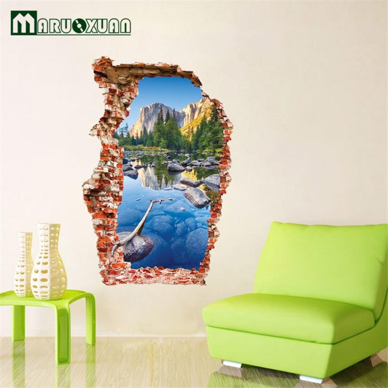 3d Large Size Round Dots Tree Wall Stickers Home Decor: Gunung Pemandangan Stiker Dinding Dekorasi Living Bedroom