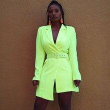 0d0393d9c4 Otoño Invierno neón verde Slim Fit Blazer chaquetas mujeres cuello  entallado Oficina señora negocios elegante Blazers abrigo lar.