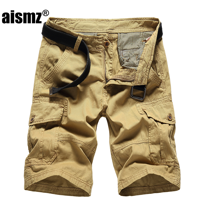 Aismz New 2018 summer casual shorts men solid color loose tooling shorts cotton pockets khaki color high quality Straight shorts