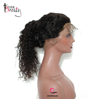 Ever Beauty 180 Density 360 Lace Front Wig Deep Wave Brazilian Human Remy Hair Natural Black