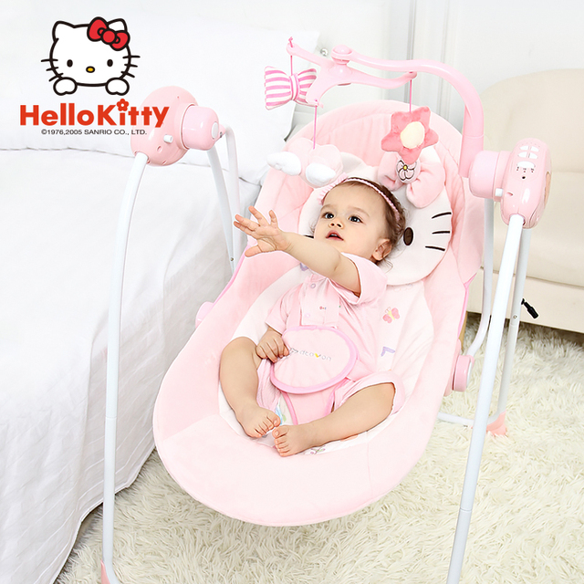 Pink Baby Rocking Chair Electric Cradle Bed Coax Sleep Crib Infant Bouncer  Appease Newborns Baby Swing