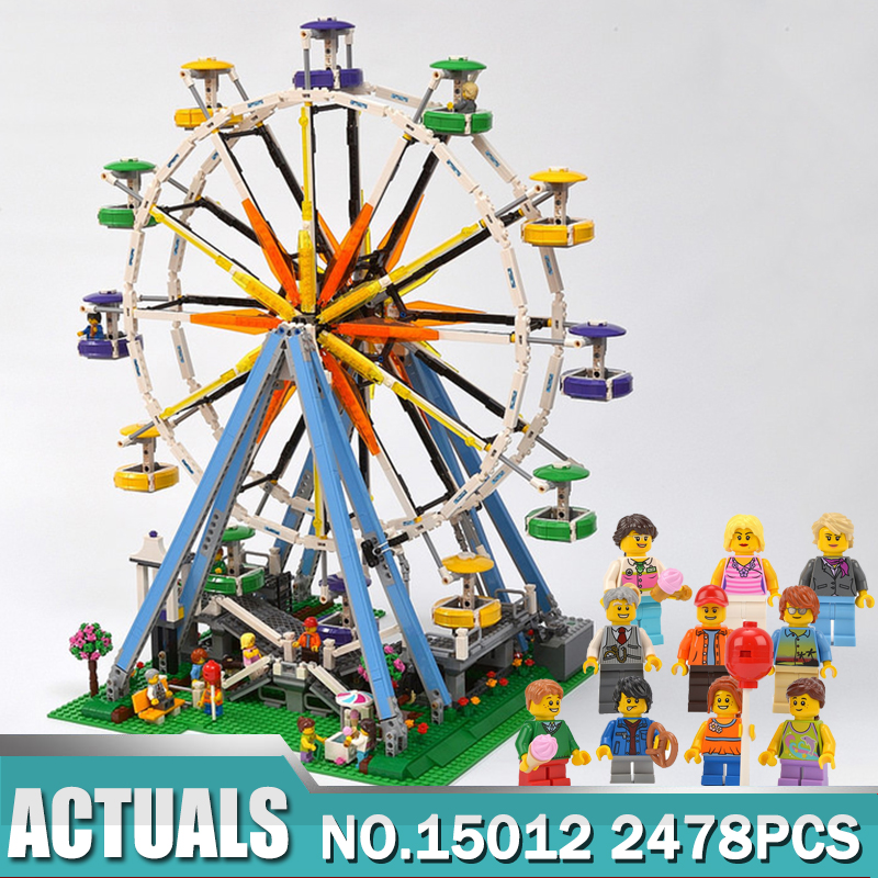 New Lepin 15012 City Expert Ferris Wheel Model Building Assembling Block Bricks Compatible legoing 10247 Model Educational Toy dhl lepin 15012 2518 pcs city expert ferris wheel model building kits blocks bricks toys compatible with legoingly 10247
