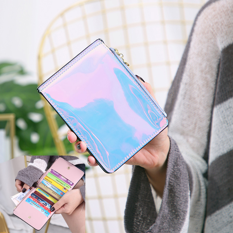 2019 New Women Small Wallets Laser Holographic Wallet Women Fold Card Holder Lady Short Purse Coin Purse Carteira Portfel