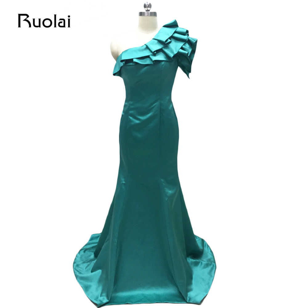 Real Picture Mermaid Evening Dresses Long One Shoulder Satin Ruffles Prom Dresses 2017 Vestido de Festa Formal Party Gown MD18