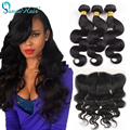 Peerless Virgin Brazilian Hair Body Wave 3pcs With 13*4 Lace Frontal Ear To Ear Unprocessed Human Hair Extensions Sky Hair
