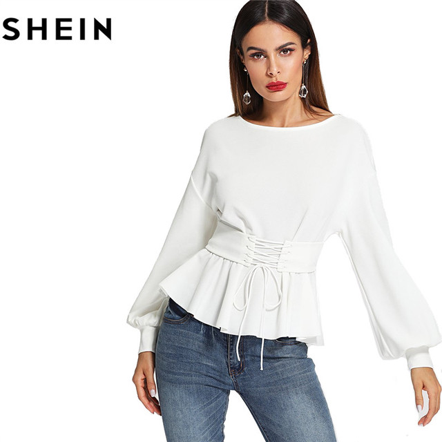 SHEIN Beige Long Lantern Sleeve Lady Work Elegant Blouses Fashion 2018 Spring Autumn Corset Belt Pleated Hem Solid Tops Clothing