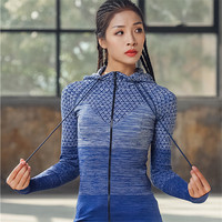 Running Jacket Gradient Color Gym Sport Coat Women Slim Fit Zipper Yoga Shirts Hooded Fitness Workout Jersey with Thumb Holes