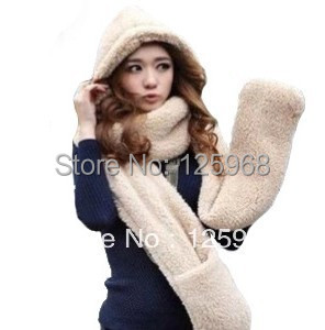 Free Shipping,New Hot Fashion Winter Warm Sherpa Plush Hooded Scarf+Gloves+Hat Wrap Scarves Caps