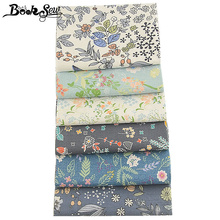 Booksew Blue Floral Fabric Meter 100% Cotton Twill 6 PCS/lot 40x50cm Patchwork Sewing Material Stoff Tecido Cloth Curtain