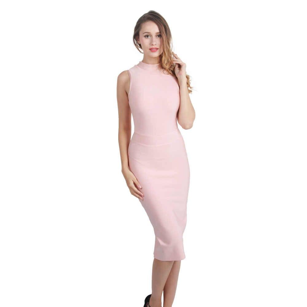 Летнее Бандажное платье без рукавов; облегающее вечернее платье; цвет бежевый, розовый; женские костюмы миди; водолазка; FH60 Leger Babe FH60
