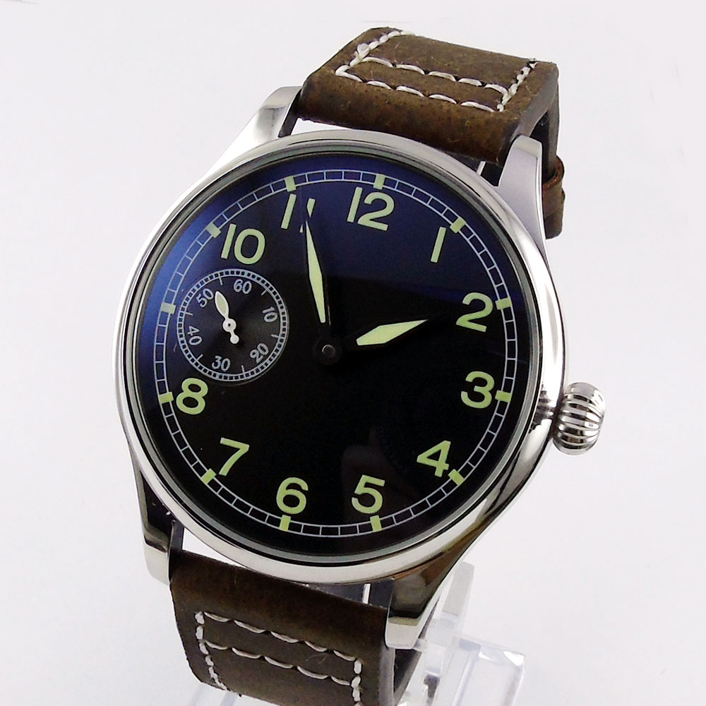 44mm parnis black dial 6497 movement leather strap hand winding men's watch цены онлайн