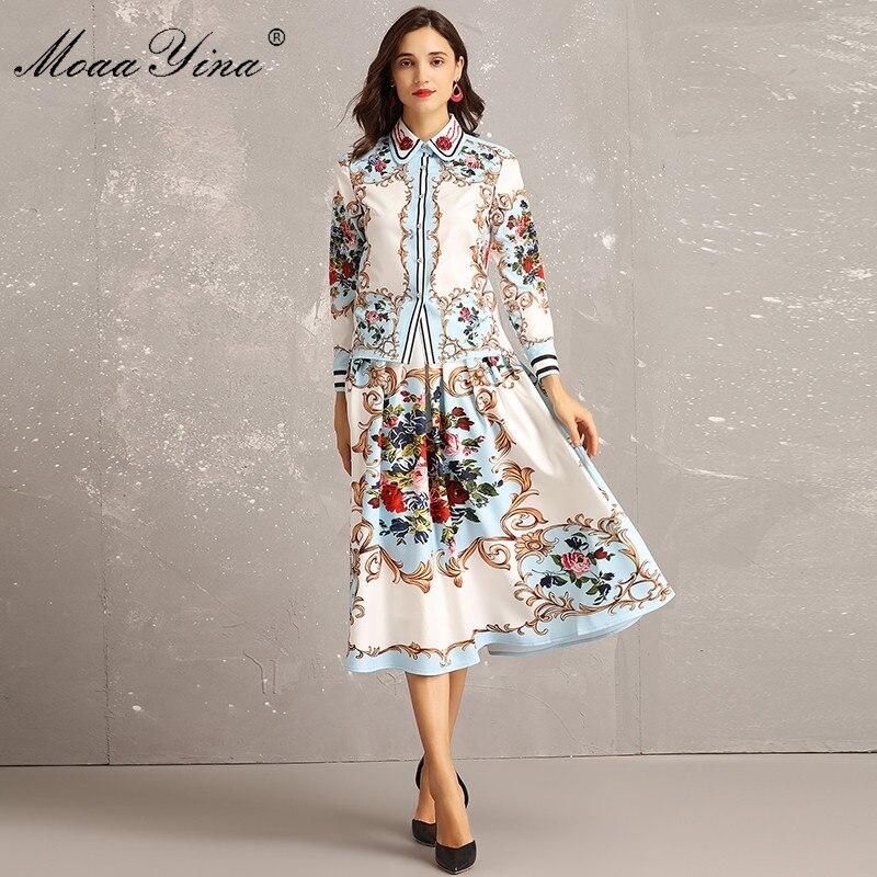 MoaaYina Fashion Designer Set Spring Women Long sleeve Floral Print Beading loveliness Elegant Blouse Midi Skirt