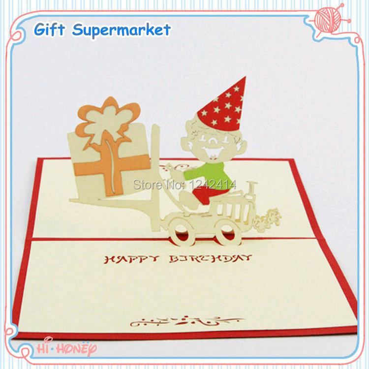 Us 19 95 110 150mm Greeting Cards Happy Birthday Boy Rides The Bike Invitation Gift Cards 3d Pop Up Folding Type 10pcs Lot Free Shipping On