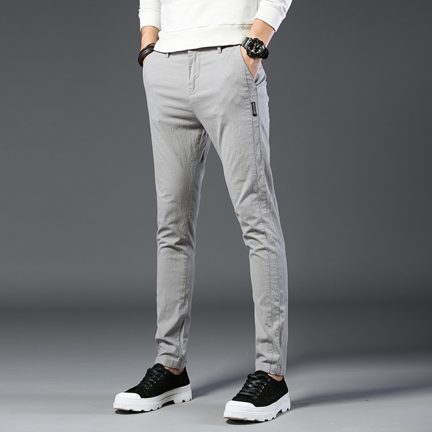 HCXY Brand 2019 Spring Summer Men's Full Cotton Casual Pants Men Pencil Pants Trousers Slim Fit Light Thin Micro Stretch Fabric