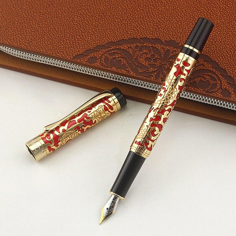 Caneta Jinhao Dragão Luxo Iraurita fountain pen stationery office escola suprimentos de metal canetas de tinta de escrever para o presente de natal caso