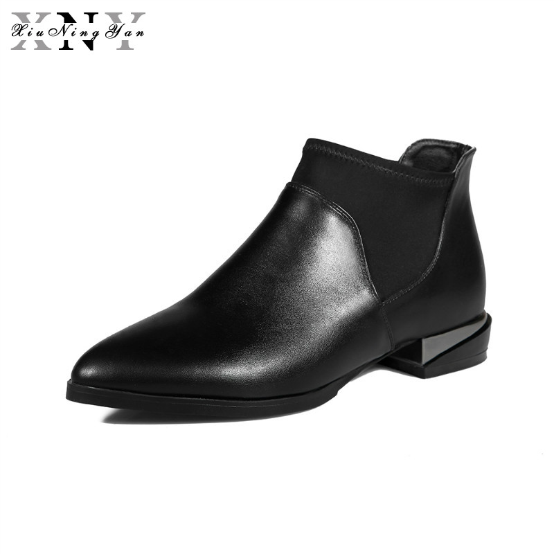 XiuNingYan 2018 New Arrival Autumn Winter Chelsea Boots Women Ankle Boots Pigskin Martin Boots Woman Vintage