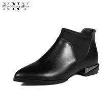 XiuNingYan 2017 New Arrival Autumn Winter Chelsea Boots Women Ankle Boots Pigskin Martin Boots Woman Vintage Fashion Botas Mujer