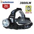 Alta calidad led lámpara principal del cree xm-l t6 Del Faro Lámpara Luz Principal Caza Caming hoofdlamp 3 Modos de Envío Gratis
