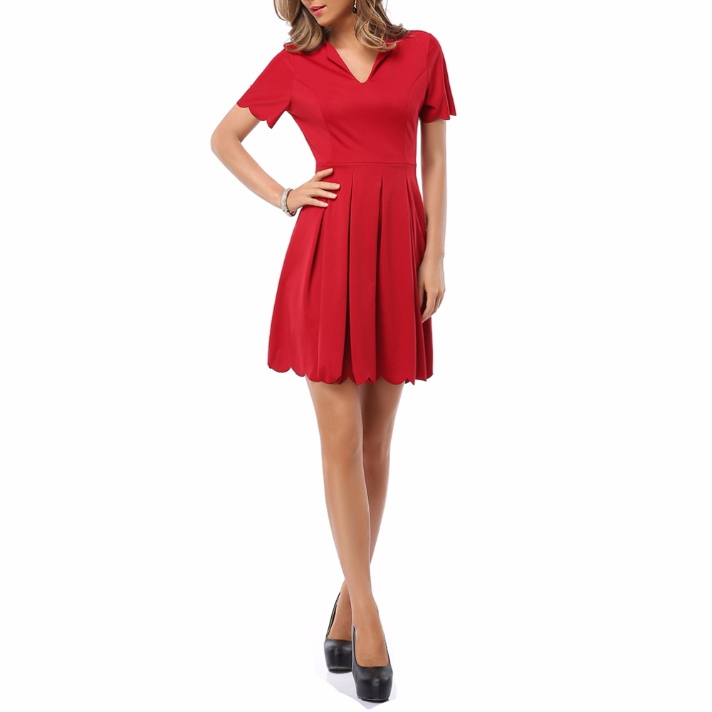 Womens Red Dress V Neck Sweet Scallop Pleated Skater Cute Slim Corrugated  2018 Sexy Casual Summer Party Dresses Brand fashion - us638 39b7968203