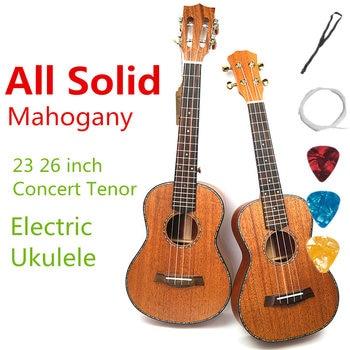 Ukelele acústico eléctrico concierto Tenor 23 26 pulgadas totalmente Lisa caoba Guitarra 4 cuerdas Ukelele Guitarra Handcraft Uke