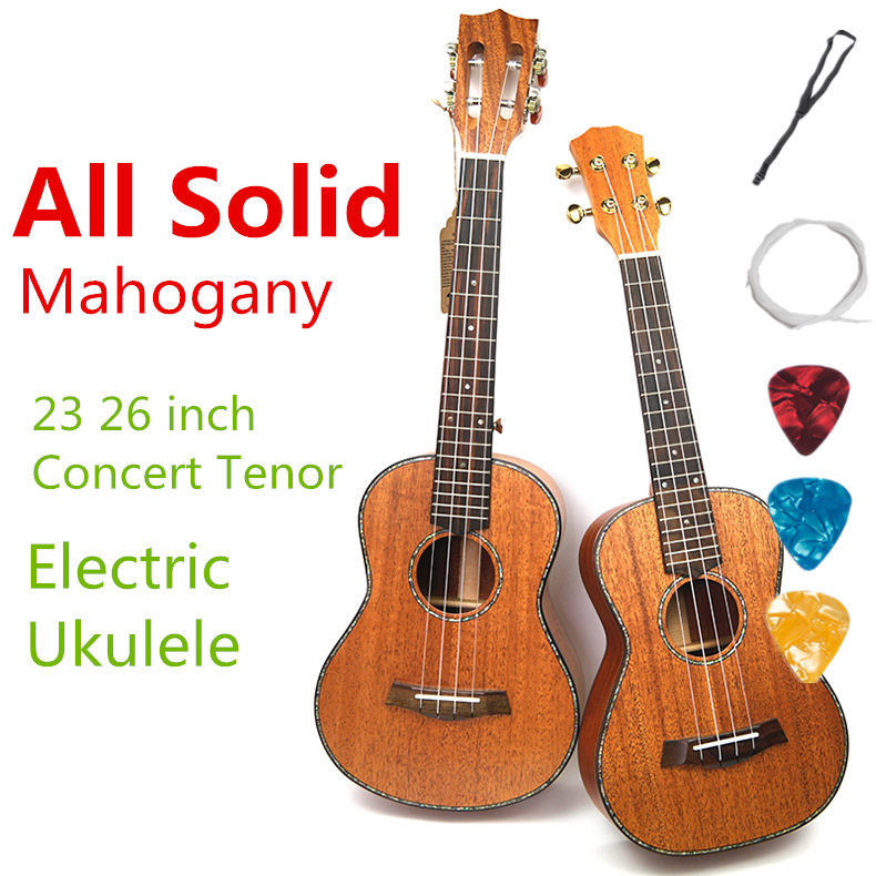 Ukulele Acoustic Electric Concert Tenor 23 26 Inch All Full Solid Mahogany Guitar 4 Strings Ukelele Guitarra Handcraft Uke acoustic electric concert ukulele 23 inch hawaiian mini guitar 4 strings ukelele guitarra mahogany handcraft green musical uke