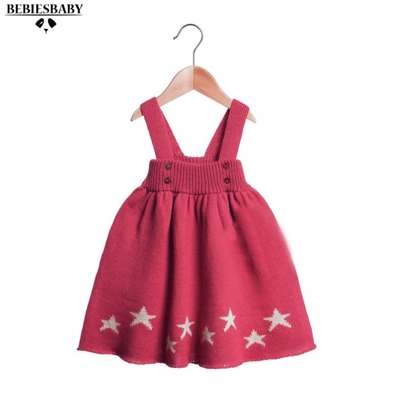 2016 Winter Autumn Sweat Baby Christmas Dress Princess Newborn Infant Girls Red Dress with Star Pattern For Newborn Party Dress