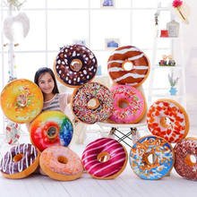 Hot Decorative Pillow Case Chocolate Sweet Donuts Plush Cute Toys Macaron Food Nap Cushion Cover Case for Sofa Home Decoration(China)
