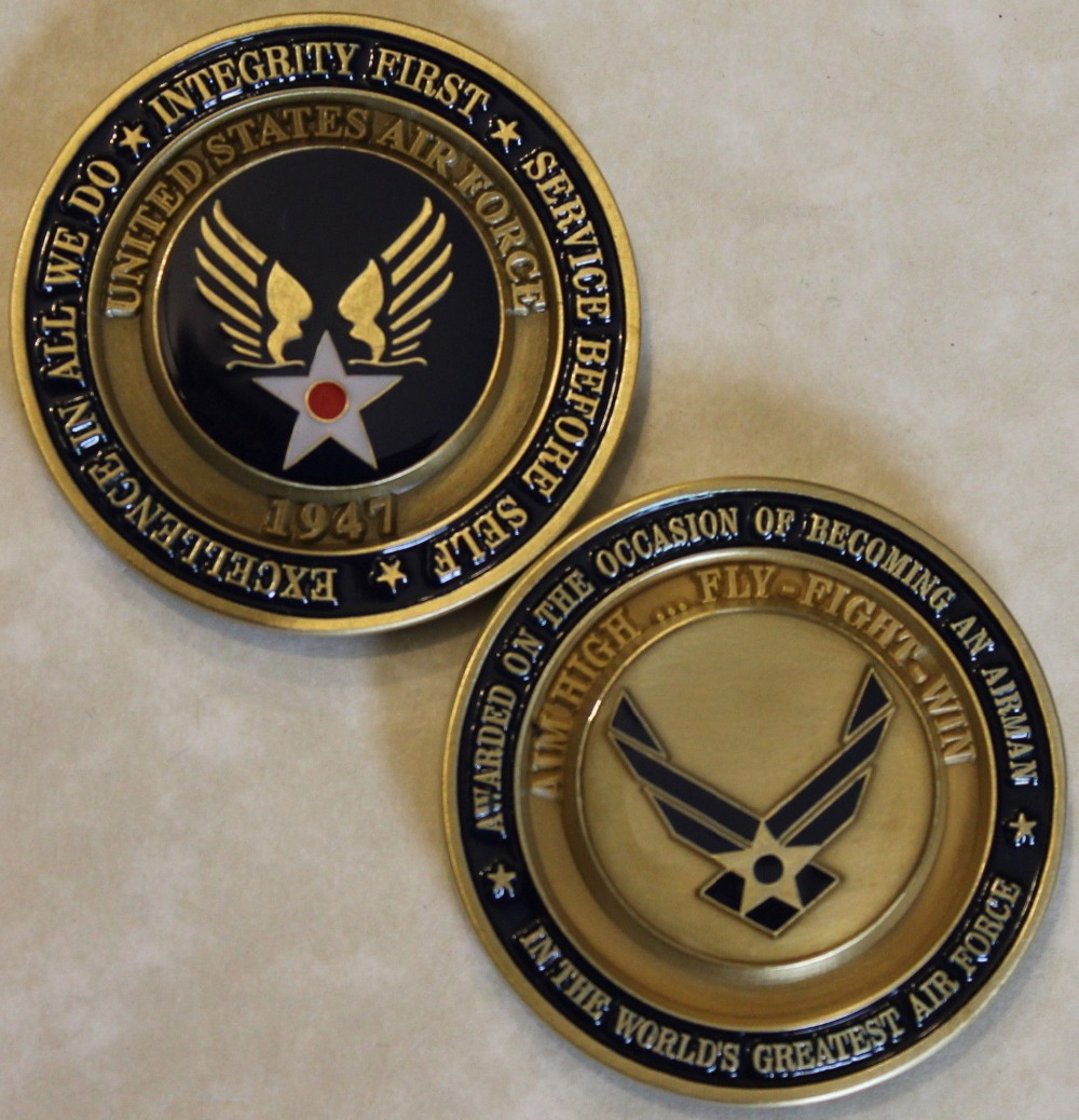 Air Force Airman Award Aim High Coin ... Fly Fight Win Challenge Coin / USAF / V2 50pcs/ ...