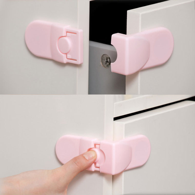 Child Safety Lock Baby Supplies Color Double Snaps At Right Angles To Lock Drawer Cabinet Lock Infant Protection Lock 2 Colors